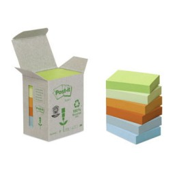 6BL100 notas Post-it recicladas colores sutidos 38 x 51 mm. 653-1GB